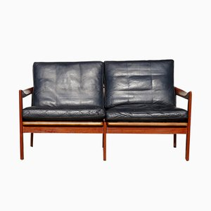 Mid-Century Teak and Leather Two-Seater Sofa by Illum Wikkelsø for Niels Eilersen