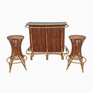 Bar Tiki de ratán y dos taburetes de Vittorio Bonacina, años 60