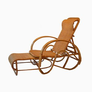 Rattan Lounge Chair & Ottoman, 1960s