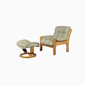 Montana Leather Lounge Chair & Ottoman from Ekornes, 1970s