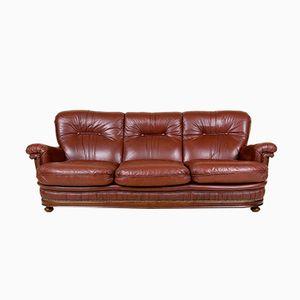 Dänisches Vintage 3-Sitzer Sofa aus Leder, 1950er