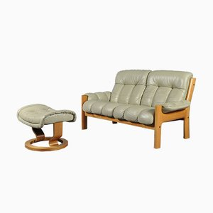 Vintage Montana Teak & Leather Loveseat & Ottoman from Ekornes, 1970s