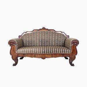 Großes antikes Biedermeier Sofa aus geschnitztem Mahagoni