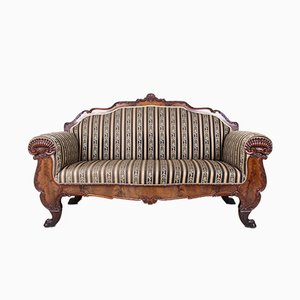 Large Antique Biedermeier Carved Mahogany Sofa