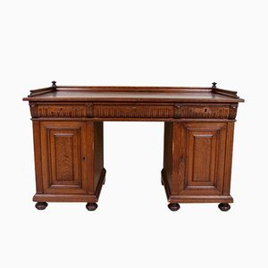 Antique Victorian Danish Oak & Leather Pedestal Desk