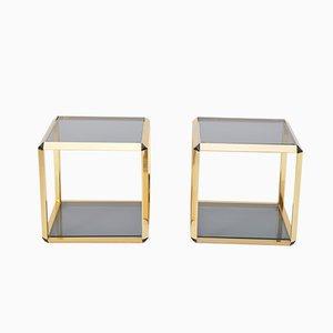 Paar Glasbeistelltische im vergoldeten Rahmen von Alberto Rosselli für Saporiti, 1972