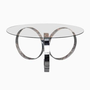 Modernist Chrome & Glass Coffee Table, 1970s