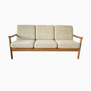 Sofá de tres plazas de teca de Juul Kristensen, años 60