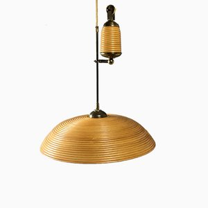 Vintage Bamboo & Brass Adjustable Pendant Lamp
