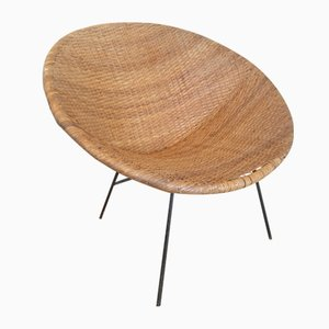 Mid-Century Braided Rattan Lounge Chair