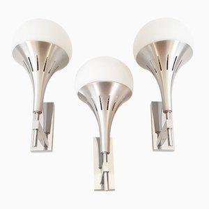 Lámparas de pared italianas de vidrio y acero cepillado de Gaetano Sciolari. Juego de 3, años 70