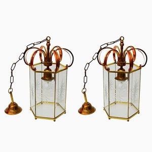 Lanterne in vetro inciso, rame e ottone, anni '60, set di 2