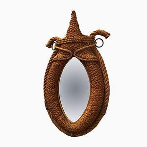 Specchio in corda intrecciata di Audoux & Minet, anni '50