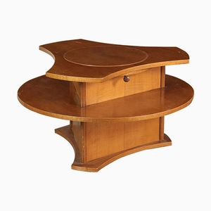 Italian Walnut Veneer Coffee Table with Wine Rack, 1960s