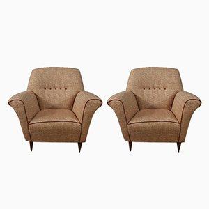 Italian Pink Fabric Lounge Chairs, 1960s, Set of 2