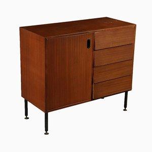 Italian Mahogany Veneer, Metal, & Brass Cabinet, 1960s