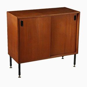 Italian Mahogany Veneer Cabinet with Metal & Brass Legs, 1960s