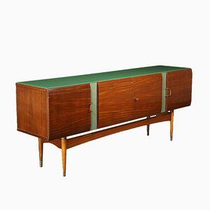Italian Mahogany Veneer, Formica, Glass & Brass Buffet, 1950s