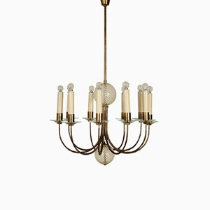 Italian Brass & Glass Chandelier, 1940s