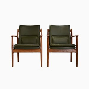 Danish Teak & Leather Armchairs by Arne Vodder for Sibast, 1960s