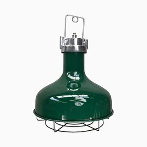 Industrial American Green Aluminium Nautical Pendant Lamp, 1978