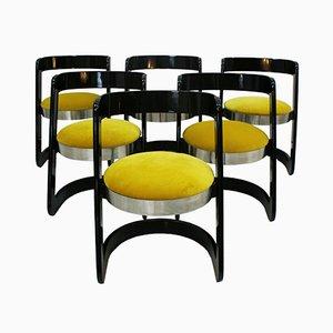 Sedie nere laccate in legno e velluto giallo di Willy Rizzo, anni '70, set di 6