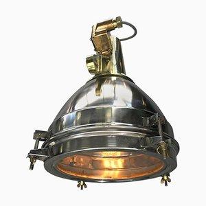 Lampada grande in acciaio inossidabile, ottone pressofuso e bronzo, Giappone, 1975