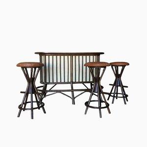 Barra de bar sueca vintage de bambú con tres taburetes a juego