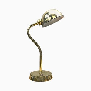 British Brass Goose Neck Table Lamp with Adjustable Shade, 1980s