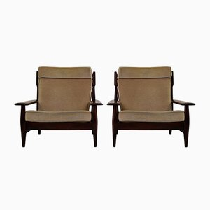 Vintage Mahogany Lounge Chairs, 1960s, Set of 2