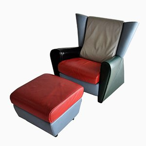 Vintage Armchair and Ottoman by Alessandro Mendini for Matteo Grassi, 1986