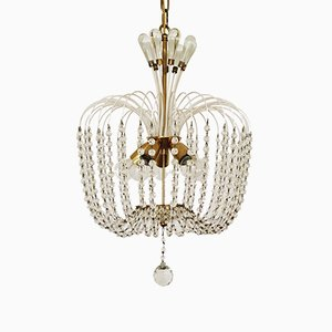 Crystal Glass Chandelier from Vereinigte Werkstätten Collection, 1950s