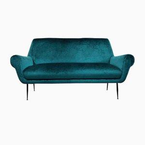 Mid-Century Modern Turquoise Sofa by Gigi Radice for Minotti