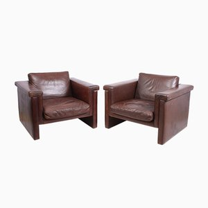 Vintage Danish Leather Armchairs, Set of 2