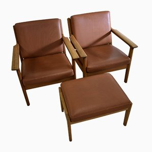 Mid-Century Stool & 2 Lounge Chairs by Hans Wegner for Getama, 1950s