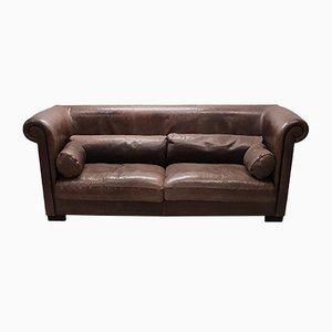 Industrial Brown Leather Model Alfred P. 3-Seater Sofa by Marco Milisich for Baxter, 1990s