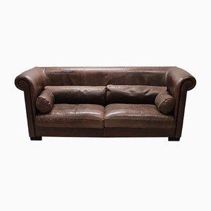 Sofá de tres plazas modelo Alfred P. industrial de cuero marrón de Marco Milisich para Baxter, años 90