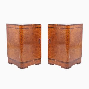 Art Deco Bedside Cabinets in Burr Maple, Set of 2