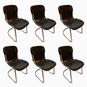 Sillas de comedor de cuero negro de Willy Rizzo para Cidue, años 70. Juego de 6