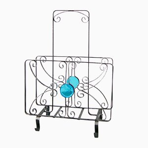 Wrought Iron & Glass Magazine Rack, 1960s