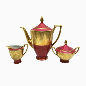 Vintage Porcelain Coffee Set with 22 Karat Gold Decoration by Josef Kuba for JKW