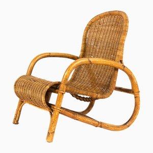 Armlehnstuhl aus Rattan, 1950er