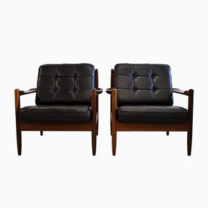Mid-Century Scandinavian Wood & Black Leather Armchairs