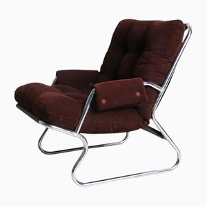 Mid-Century Danish Chrome Framed Lounge Chair, 1970s
