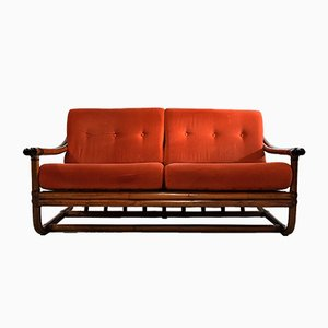 Italian 2-Seater Bamboo Lounge Sofa, 1960s