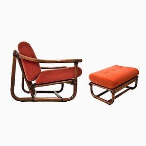 Italienischer Sessel mit Bambusgestell & Fußhocker, 1960er