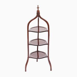 Antique Edwardian Mahogany Inlaid 3-Tier Cake Stand