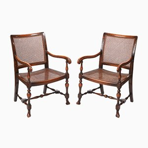Vintage William & Mary-Style Bergere Armchairs, Set of 2