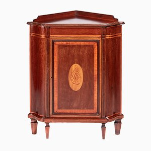 Antique Inlaid Mahogany Corner Cabinet, 1890s