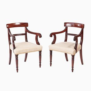 Antique George III Mahogany Elbow Chairs, Set of 2